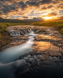 Golden Hour at Bruarfoss Waterfall in Iceland