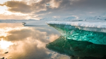 Golden hour at Jokulsarlon Glacier Lagoon Iceland