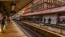 Golden Hour at the Madison-Wabash Station Chicago Elevated Train