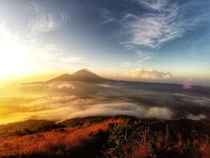 Golden hour at the summit of Mt Batur Indonesia