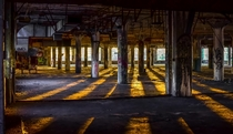 Golden hour inside Fisher Body Plant in Detroit Tonights sunset
