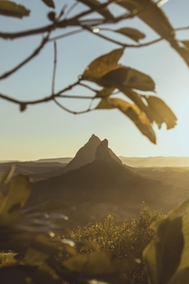 Golden hour perfection in the Glasshouse Mountains Mount Ngungun Queensland