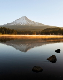 Golden light on Mt Hood taken from the shore of Trillium Lake Oregon