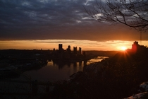 Golden sunrise on a cold dry morning in Pittsburgh PA USA