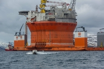 Goliat platform and Dockwise vanguard outside Hammerfest Norway