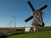 Goliath mill and wind turbines Eemshaven Netherlands