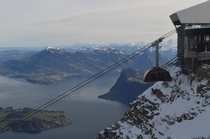Gondola leaving the summit of Mount Pilatus Switzerland