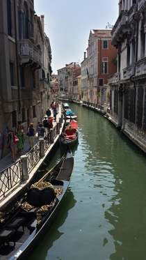 Gondolas on the Canal Venice Italy