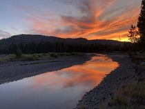 Goodnight Yellowstone Sunset over the Yellowstone River on Night  of an -day Backcountry Expedition