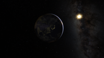 Google Maps screenshot of Night time Earth with the Sun and Milky Way in background