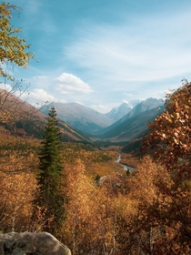 Gorgeous autumn in Caucasus Alibek river valley Dombay October