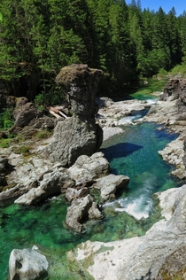 Gorgeous blue waters of the little north fork of the Santiam River in Oregon