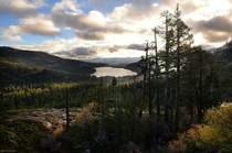 Gorgeous light in the Sierras yesterday near Donner Summit looking down at Donner Lake