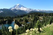 Gorgeous view of Mt Rainier seen from Tolmie Peak Lookout in Washington