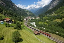 Gotthard line near Gurtnellen Switzerland       pixels