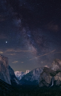 Grabbed this shot of the Milky Way last night and threw it over an old pic of Yosemite