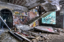 Graffiti and rubbish in the old Detroit Packard plant