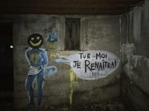 Graffiti in abandoned Maginot line bunker inspired by post I saw earlier today