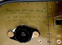 Graffiti left by CMP Michael Collins inside the spacecraft Columbia following Apollo