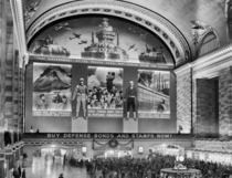 Grand Central Station transformed for a war bond drive circa
