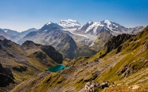 Grand Combin massif and Lac de Louvie on a morning hike - Valais Switzerland
