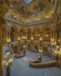 Grand staircase of the Second Empire style Palais Garnier completed in  th arrondissement of Paris France