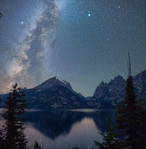 Grand Teton and Jenny Lake under the Milky Way Award winning photo for best night skies in the National Parks x
