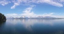 Grand Tetons across lake