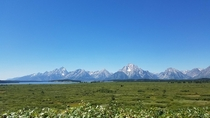 Grand Tetons as seen from the Jackson lake lodge Taken wS edge