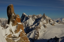 Grandes Jorasses and Dent du Geant from the Aiguille du Midi France