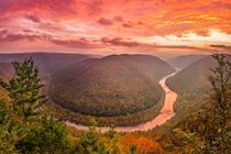 Grandview Fiery Sunrise New River Gorge West Virginia