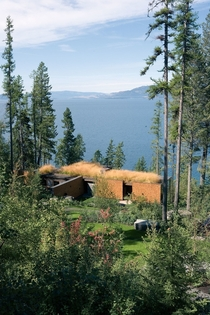 Grass Roofed Cabin perched over Flathead Lake Montana Andersson-Wise Architects