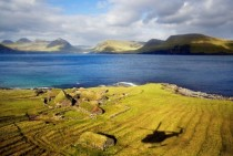 Grass roofed houses on Koltur Faroe Islands