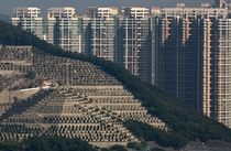 Graves cover a hillside in front of high-rise buildings in Hong Kong