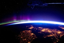 Great Britain and some Northern Lights from the International Space Station  x-post rspace