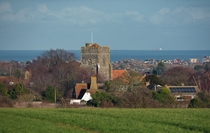 Great Mongeham and St Martins Church with Deal and the English Channel in the background - Kent UK