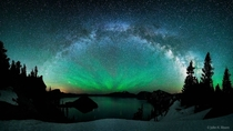 Great picture of the Milky Way arching over Crater Lake Oregon  x