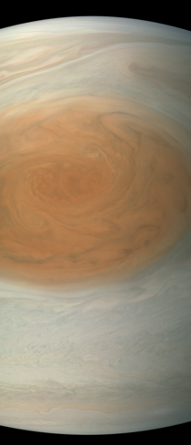Great Red Spot imaged by Juno in approximate true color