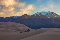Great Sand Dunes NP Colorado First light hitting the Santa Cristo Mountains