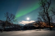 Great shoot of Moon and Aurora Borealis at Norway by John A Hemmingsen