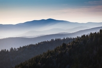 Great Smoky Mountains I took this image at dusk from Clingmans Dome