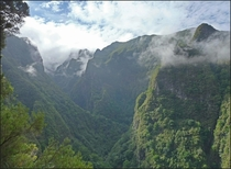 Green and rugged Madeira Portugal - view from the levada hike to Caldeiro Verde