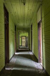 Green Crooked Hallway of Abandoned House Tennessee