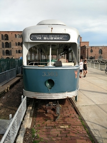 Green Line trolley car from Boston on the waterfront of Brooklyns Red Hook