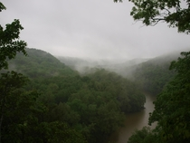 Green River Valley at Mammoth Cave National Park in Kentucky- Early morning mist rises from the forest floor May   X