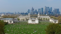 Greenwich London viewed from the Statue of General James Wolfe Canary Wharf in the background