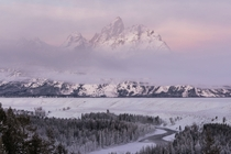 Greeted with a colorful sunrise in Grand Teton National Park