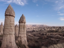 Greme National Park in Turkey While funny in appearance these odd looking rock formations called fairy chimneys are completely natural unlike the numerous man-made cave dwelling in the area