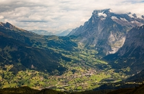 Grindelwald under the massive cliffs of Mattenberg and Mittelhorn Switzerland  Nathan Yan
