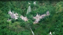 Group of Jain temples straddling a waterfall Muktagiri India